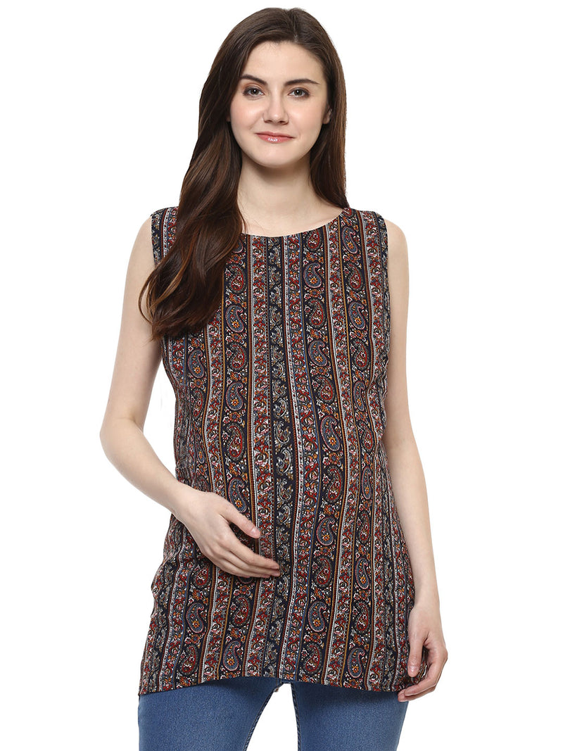 Maternity Top Back Slit Applique Print Georgette