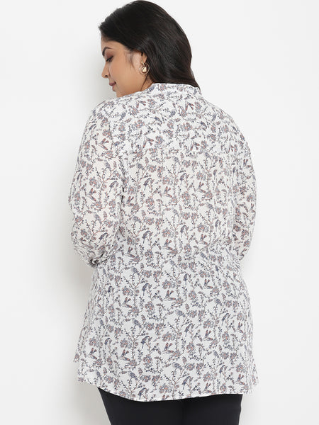 Plus Size Maternity White Playful Print Tunic Top