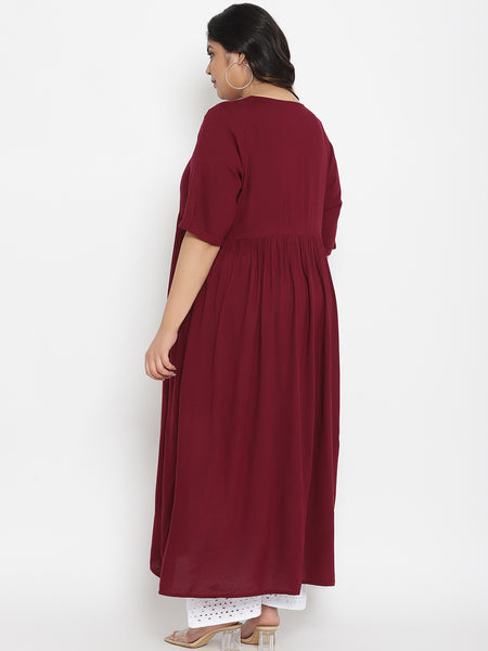 Plus Size Maternity Kurta with Scarf