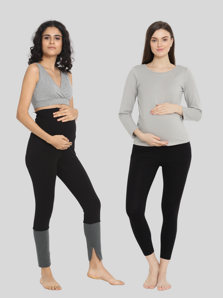 2-pack Maternity Winter Weight French Terry Leggings