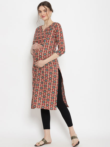 2pc. Printed Maternity & Nursing Kurta With Leggings