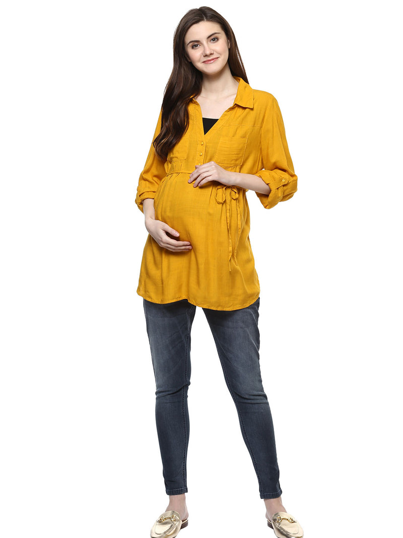 Maternity Top V-neck Solid Yellow