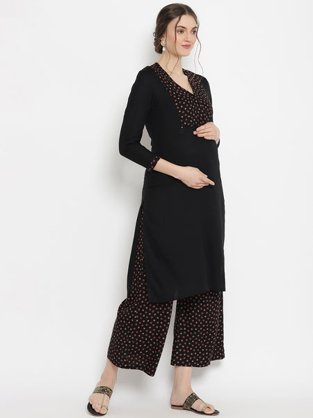 2pc. Maternity & Nursing Cotton Palazzo Pant Suit