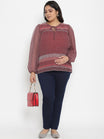 Plus Size Maternity Top Split Neckline Georgette Maroon