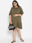 Plus Size Maternity Dress Rumple Neck