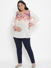 Plus-Size Maternity Top White Floral Print Georgette