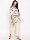 2pc. Maternity & Nursing Cotton Linen Angrakha Short Kurta with Palazzo Set