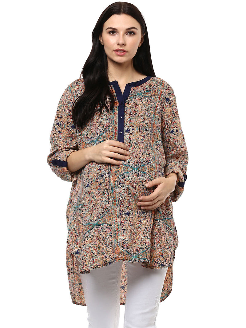 Maternity Top Round Neck Applique Print Multi-color Rayon