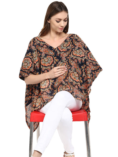 Poncho for Maternity & Nursing V-Neck Georgette Paisley Print
