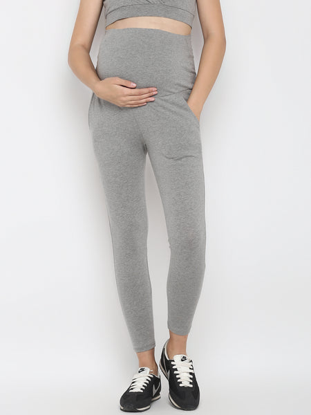 Set of Maternity Half Sleeves Feeding T-Shirt with Over Belly Legging - Grey