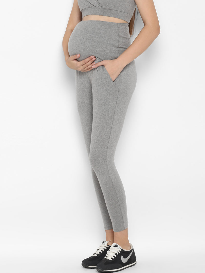 Set of Maternity Full Sleeves T-Shirt with Over Belly Legging - Grey
