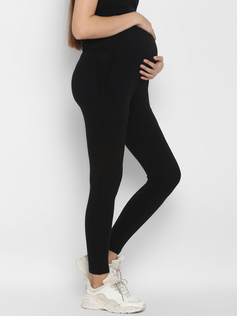 Cotton Over Belly Maternity Leggings