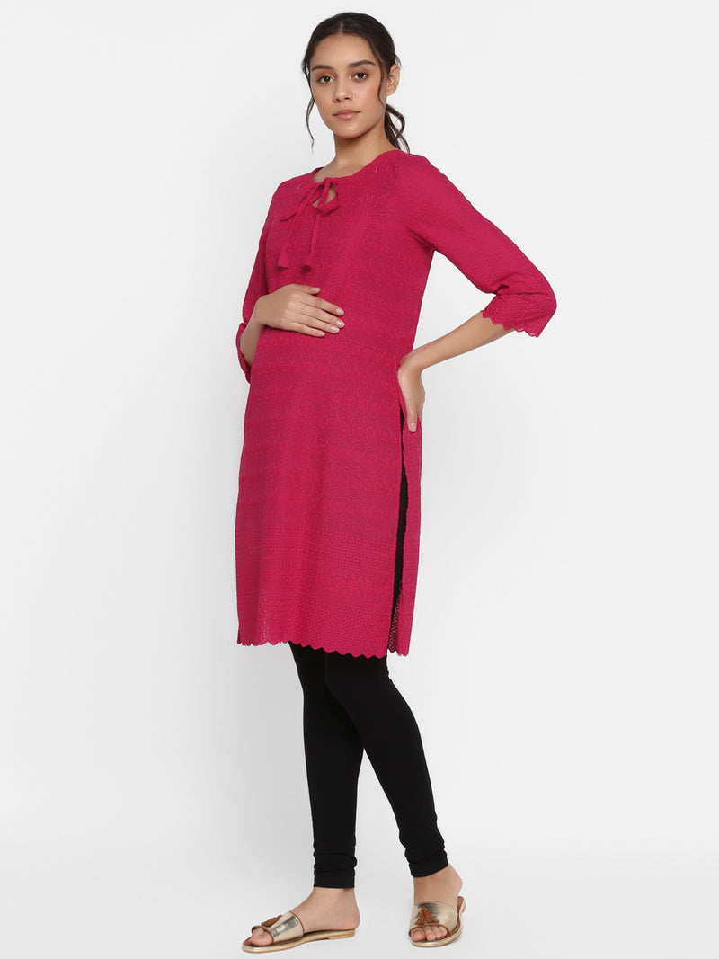 Side-Zip Maternity/Nursing Cotton Chikankari Kurta