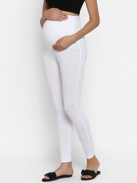 Over The Bump White Maternity Leggings