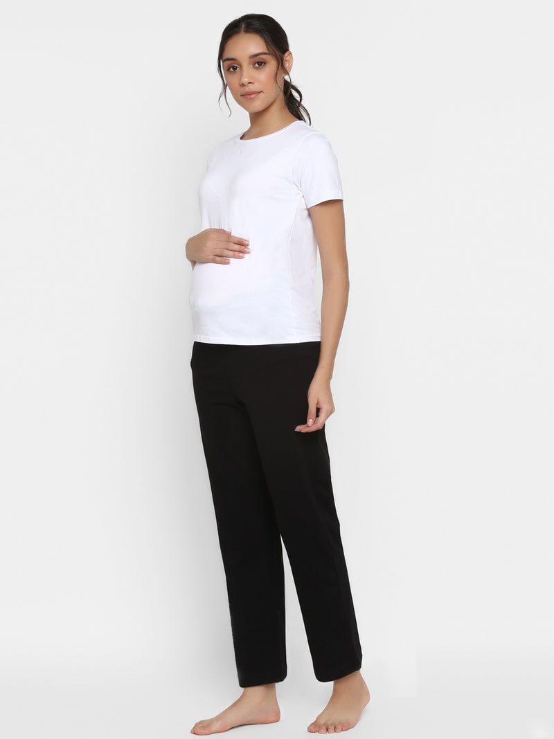 Low-Waist Maternity Comfy Black Pants
