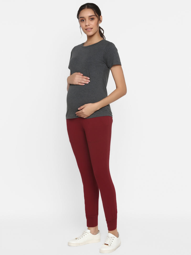 Over Bump 2-Piece Maternity Tee & Track Pants Set
