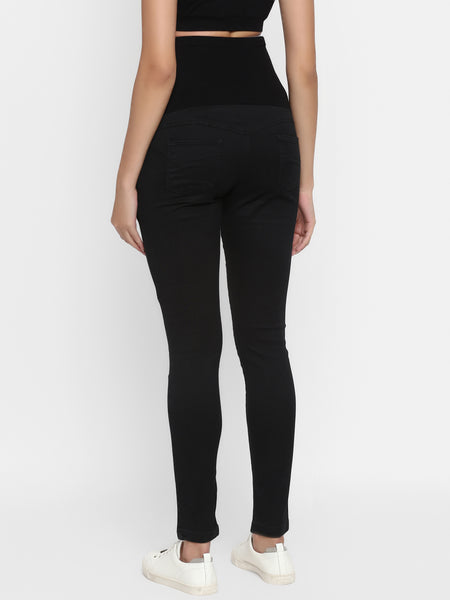 High-Waisted Slim Maternity Jeans- Black