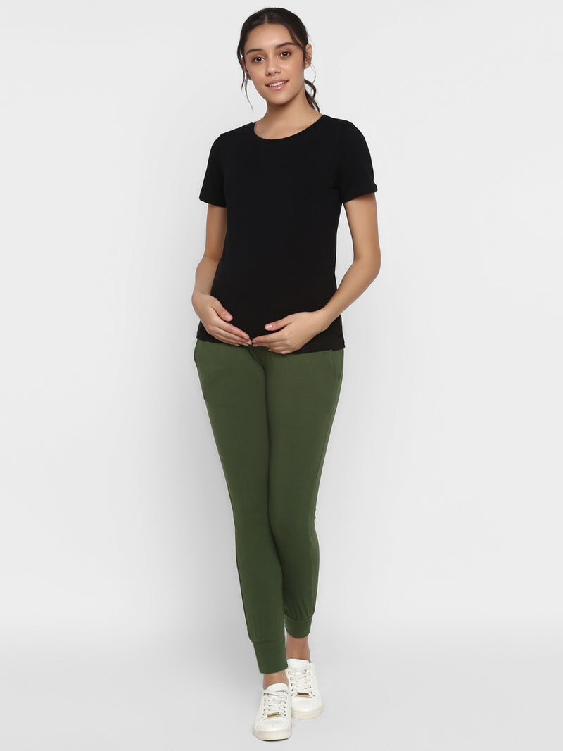 Cotton 2-Piece Maternity Tee &  Joggers Set