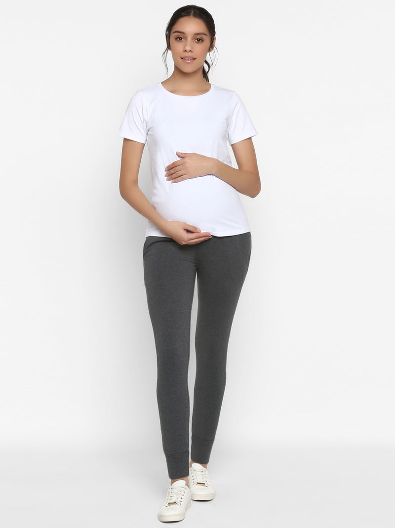 Hi-rise 2-Piece Maternity Tee & Jogger Pants Set