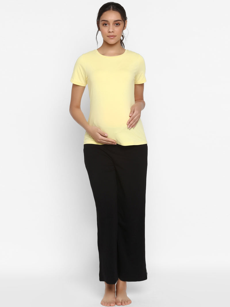 Printed Loose 2-Piece Maternity Tee & Pajama Pants Set