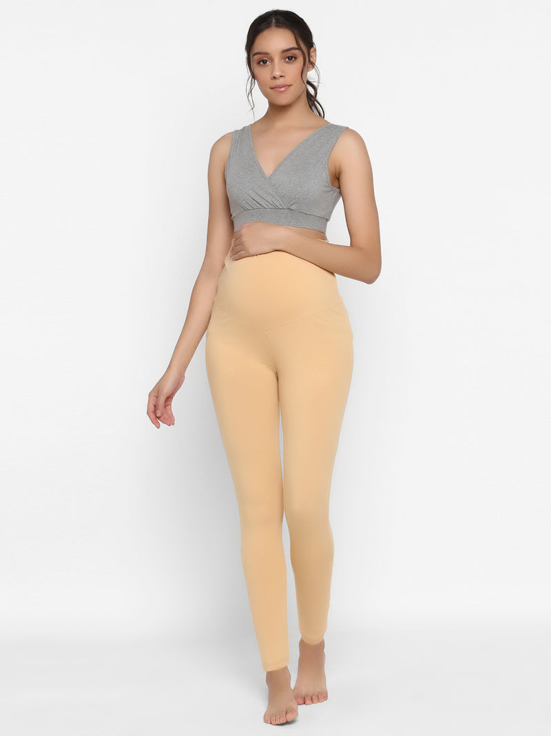 Over Belly Cotton Lycra Maternity Leggings