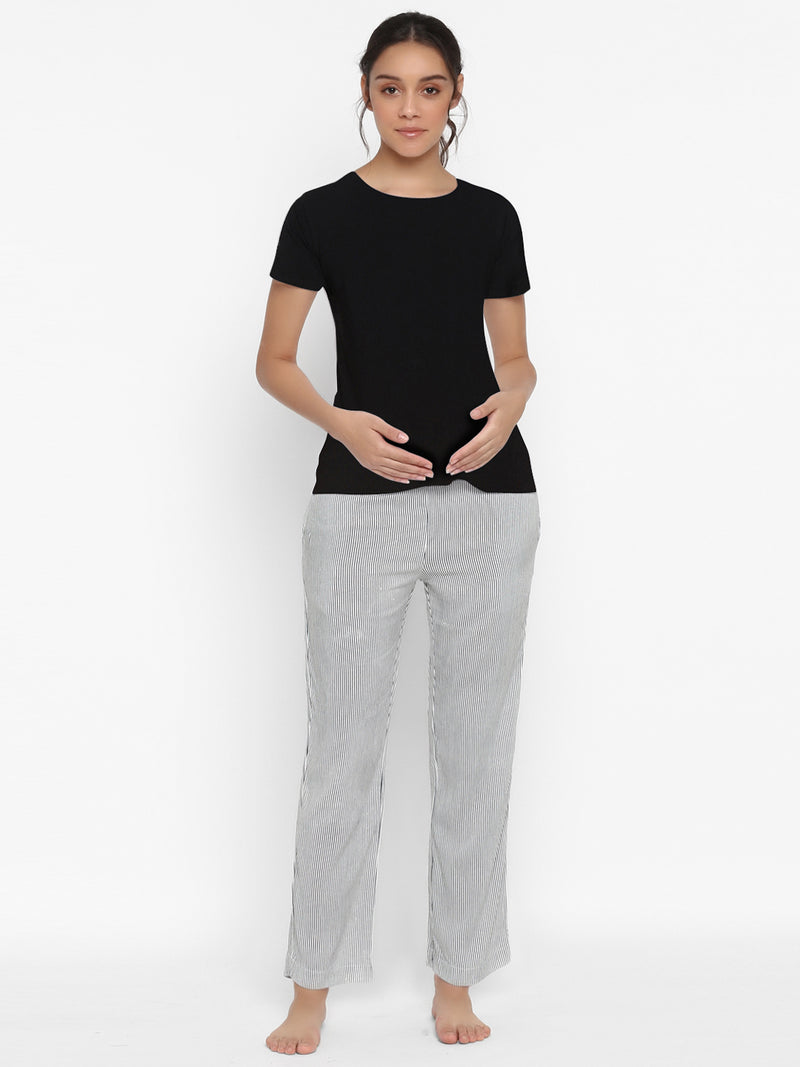 Demi Panel Maternity Comfy Pants with Pockets