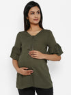 Maternity Solid Zipper Top