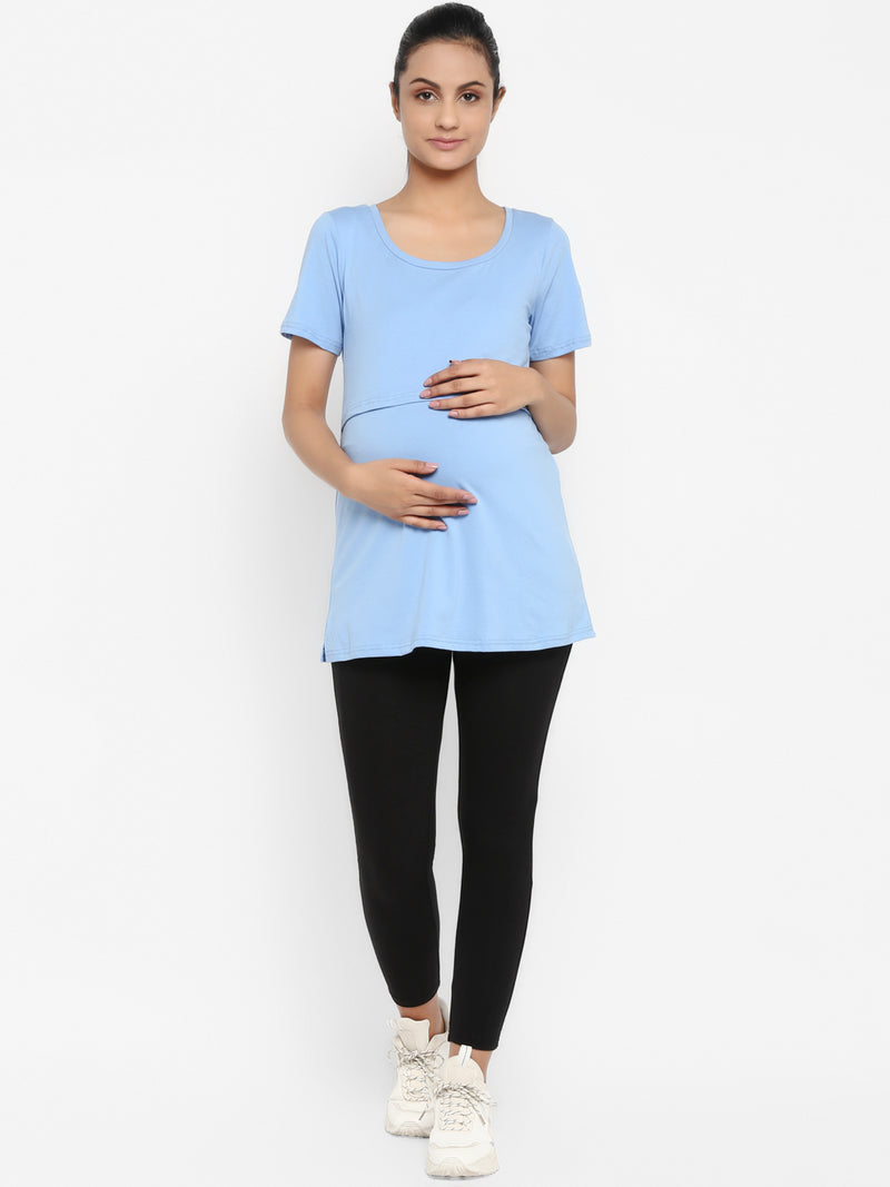 Set of Maternity Half Sleeves Feeding T-Shirt with Over Belly Legging - Pastel Blue