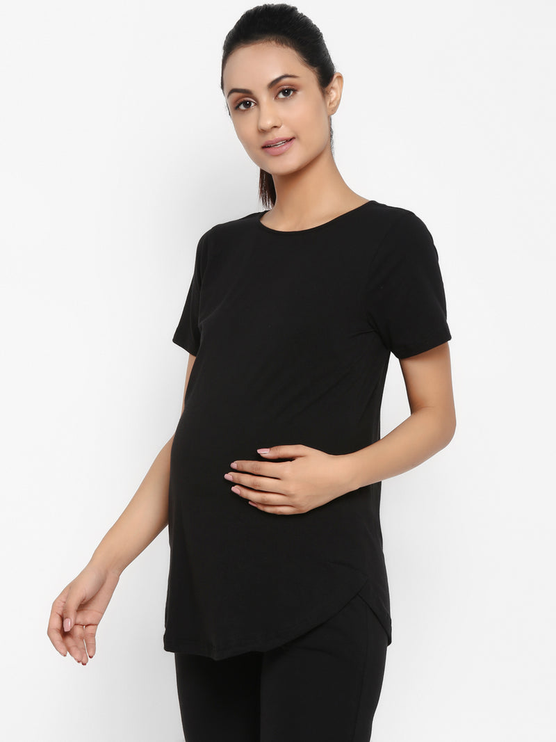 Set of Maternity Half Sleeves T-Shirt with Under Belly Legging - Black