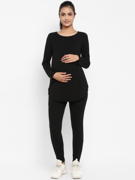 Set of Maternity Full Sleeves T-Shirt with Under  Belly Legging - Black