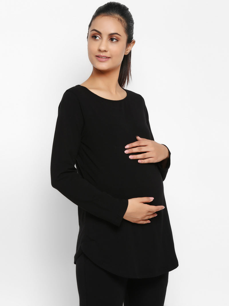 Set of Maternity Full Sleeves T-Shirt with Over Belly Legging - Black