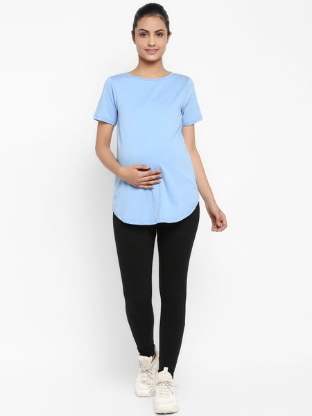 Set of Maternity Half Sleeves T-Shirt with Under Belly Legging - Pastel Blue