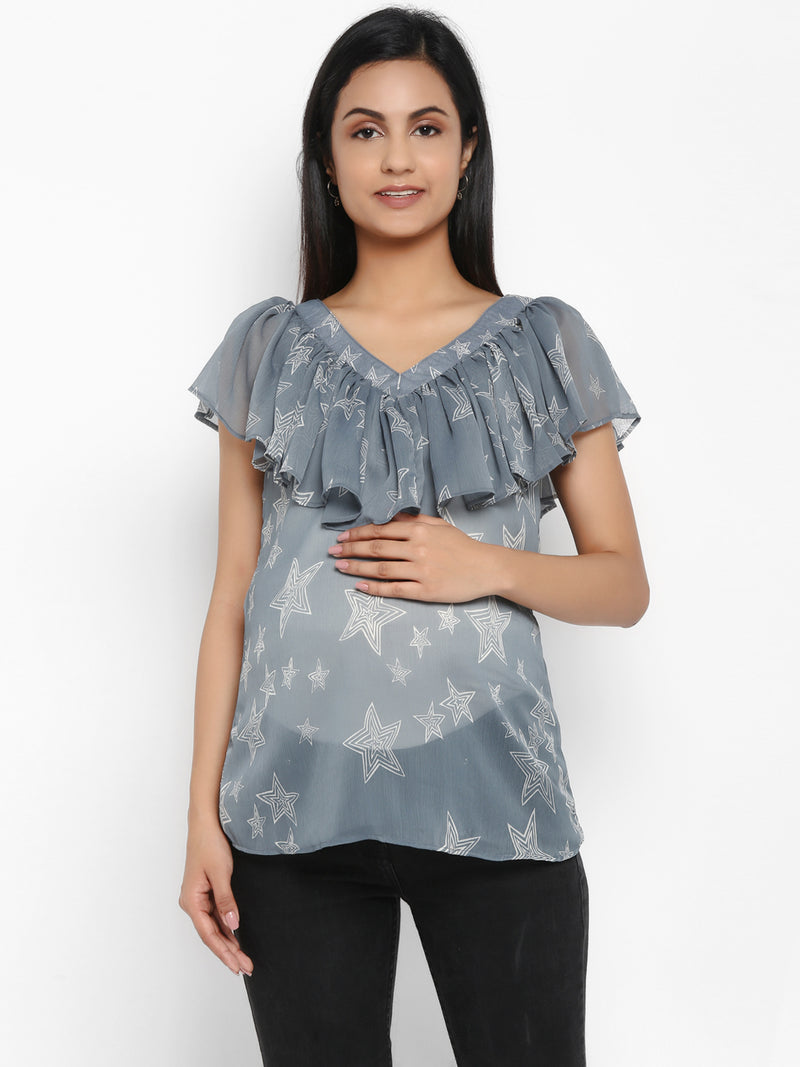 Maternity V-neck Chiffon Top