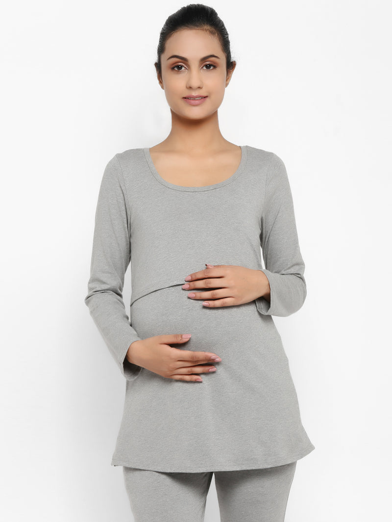 Maternity Full Sleeves Nursing T-Shirt