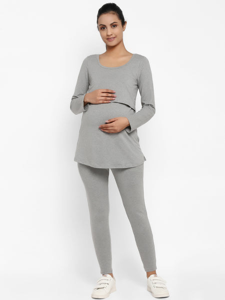 Full Sleeves Maternity Feeding T-Shirt with Over Belly Legging - Grey