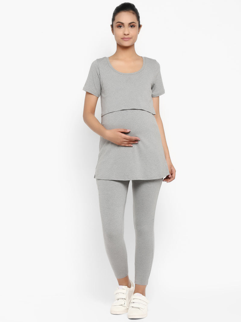 Set of Maternity Half Sleeves Feeding T-Shirt with Under  Belly Legging - Grey