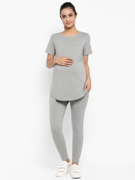 Set of Maternity Half Sleeves T-Shirt with Over Belly Legging - Grey