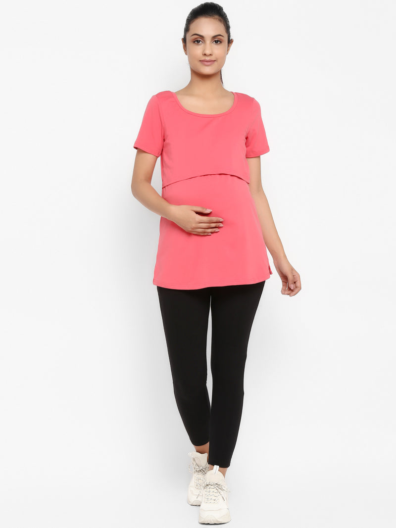 Set of Maternity Half Sleeves Feeding T-Shirt with Over Belly Legging - Peach