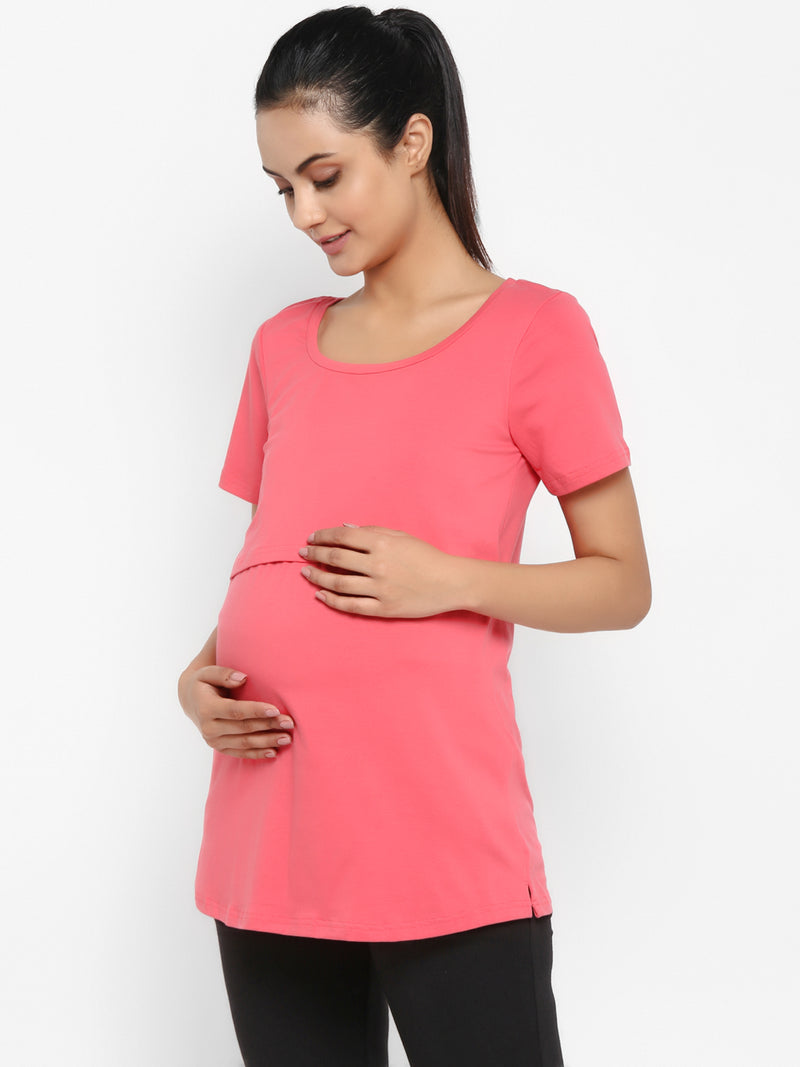 Set of Maternity Half Sleeves Feeding T-Shirt with Under Belly Legging - Peach