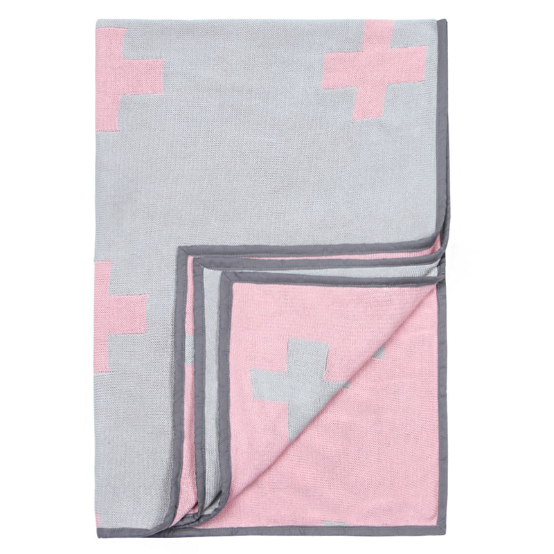 Baby Blanket with Pillow and Baby Elephant Soft Grey and Pink