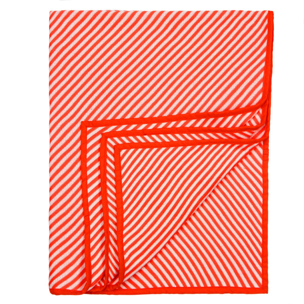 Baby Blanket Orange & White Stripes