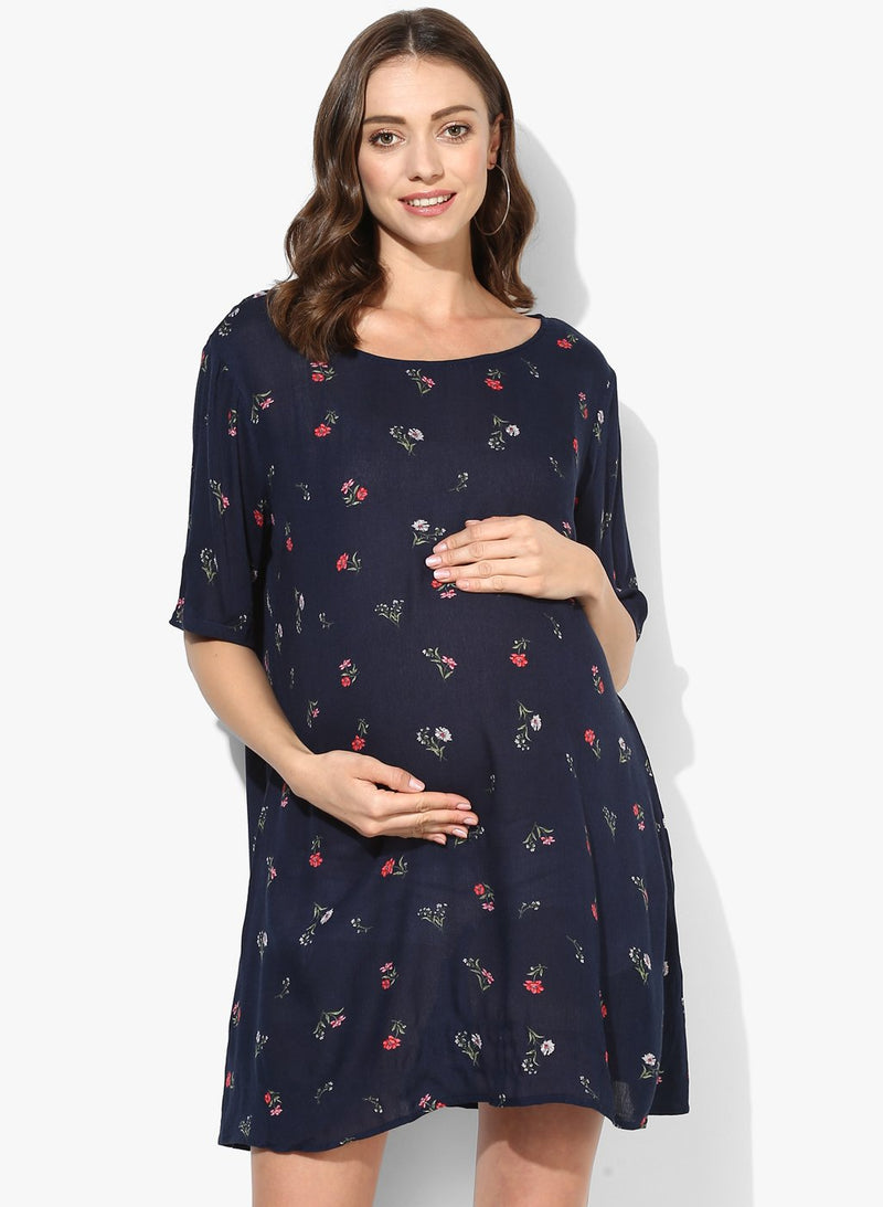 Maternity Dress A-line Blue Floral