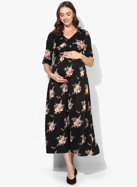 Maternity Maxi Polyster Black Floral
