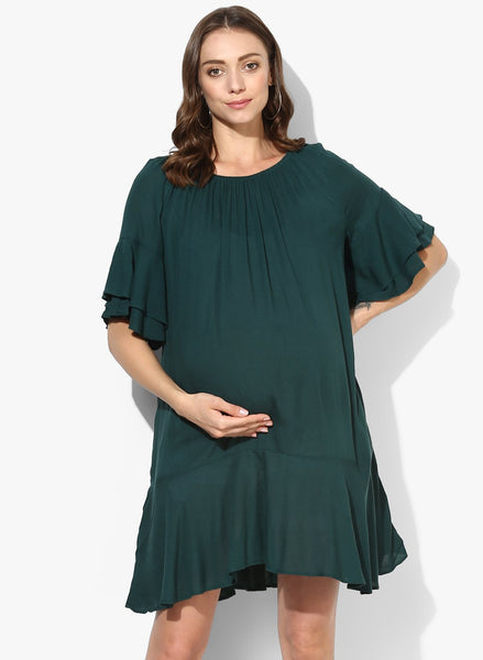 Maternity Dress Rumples Neck Solid Green