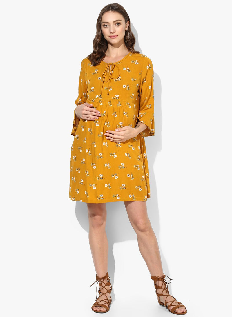 Maternity Dress Split Neck Mustard Floral Print