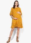 Maternity Dress Rumple Neck Mustard Floral Print