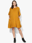 Maternity Dress Rumple Neck Solid Mustard