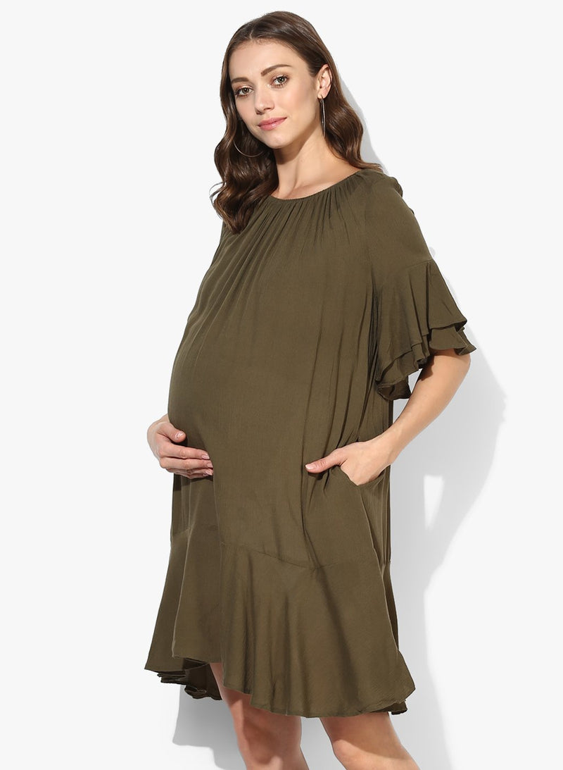 Maternity Dress Rumple Neck Solid Mehndi Green