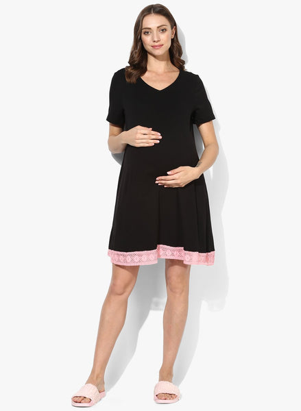 Maternity Night Wear Cotton Black