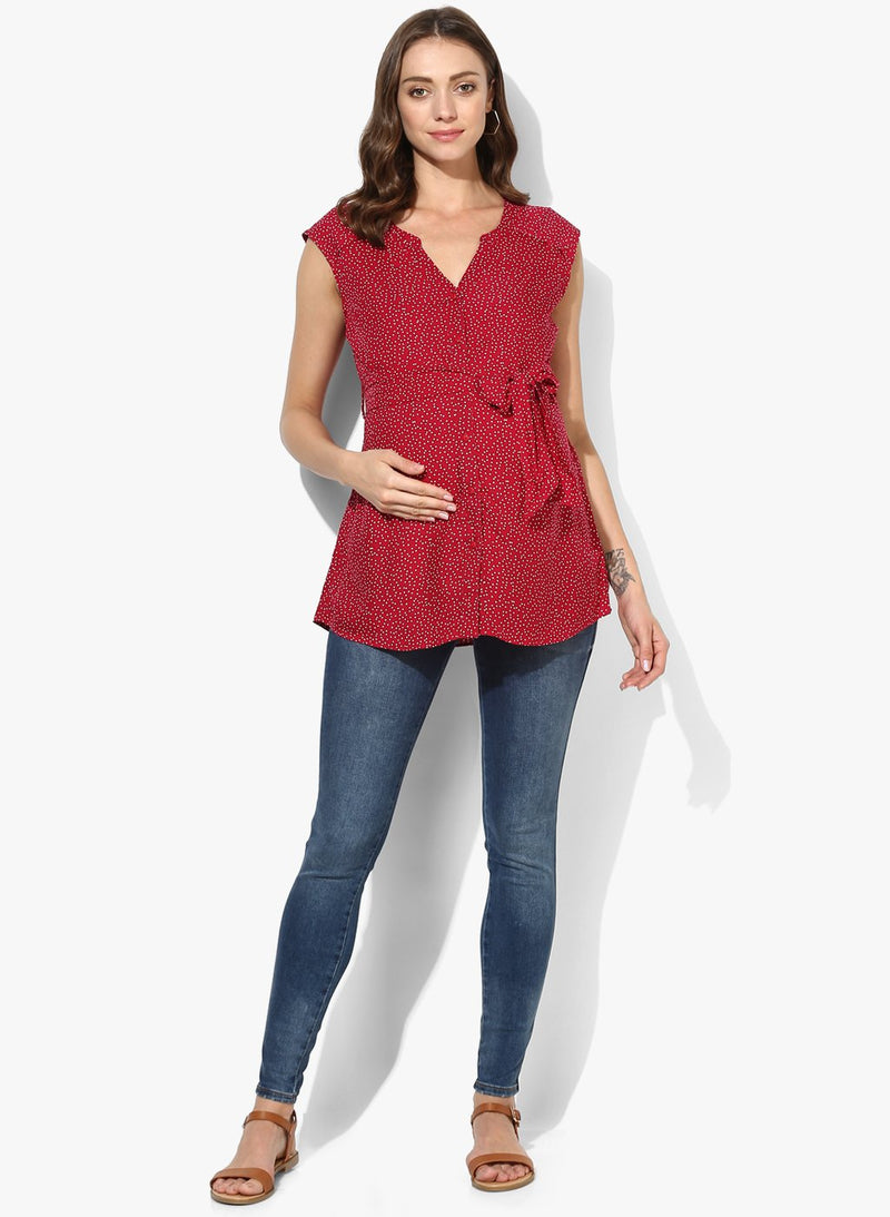 Maternity Shirt Rayon Red Polka Dots